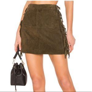 "Genuine leather/suede fringe ""mini"" skirt"